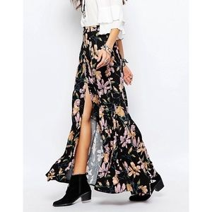 Free People boho floral slit button maxi skirt